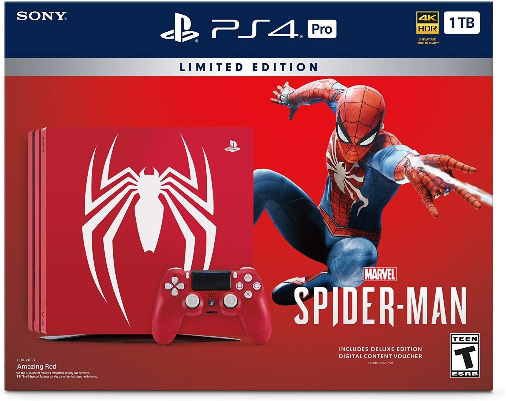 Sony PlayStation 4 Pro 1TB Red Limited Edition Bundle + игра Marvel Человек-паук