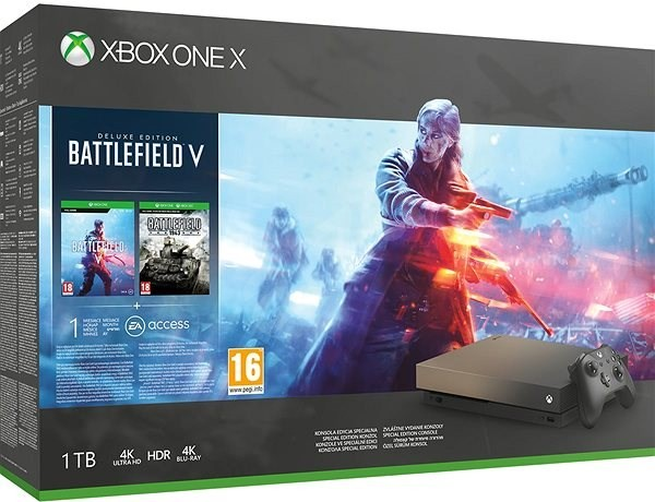 Microsoft Xbox One X 1TB Console – Gold Rush Special Edition Battlefield V Bundle